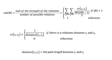 Formula 1. Cohesion calculation formula
